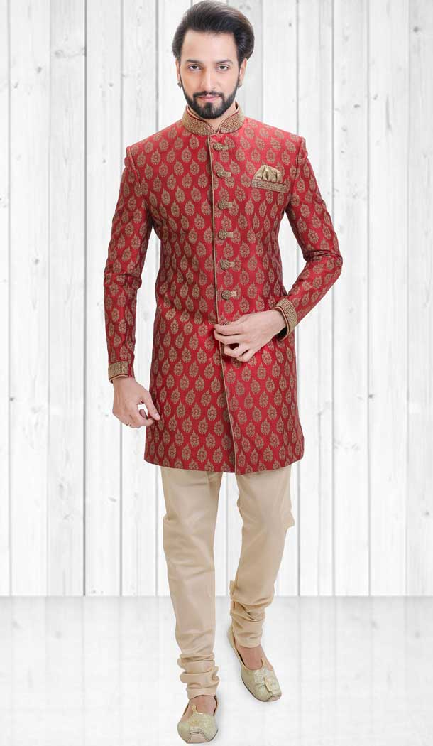 Red Color Dupion Indo Western Style Readymade Men Sherwani - 558069522