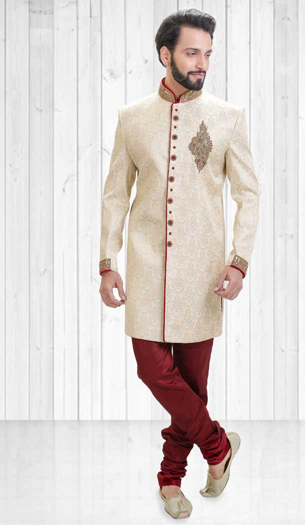 Majest Cream Color Jacquard Indo Western Style Readymade Men Sherwani - 558069528