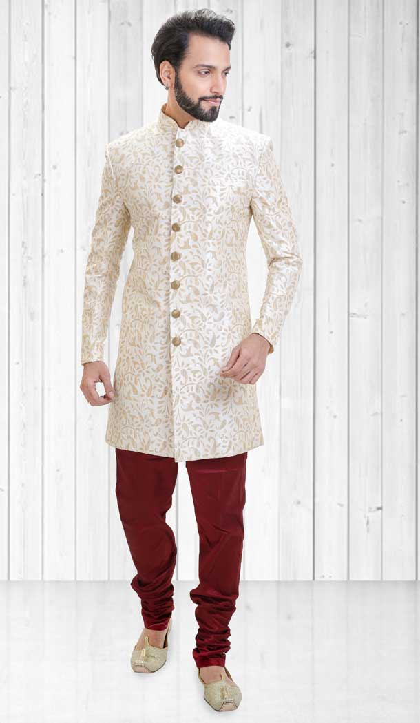 Off White Color Dupion Indo Western Style Readymade Men Sherwani - 558069529