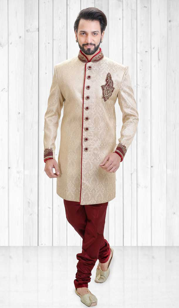 Alluring Cream Color Jacquard Indo Western Style Readymade Men Sherwani - 558069530