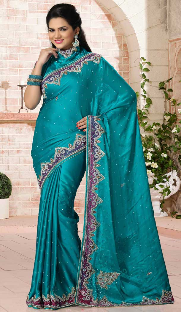 Turquoise Color Satin Designer Bridal Fully Hand Worked Saree Blouse - 558769688