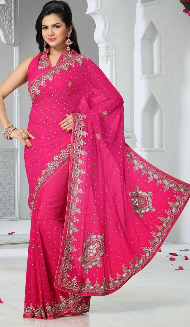 Alluring Pink Color Chiffon Designer Bridal Fully Hand Worked Saree Blouse - 558769695