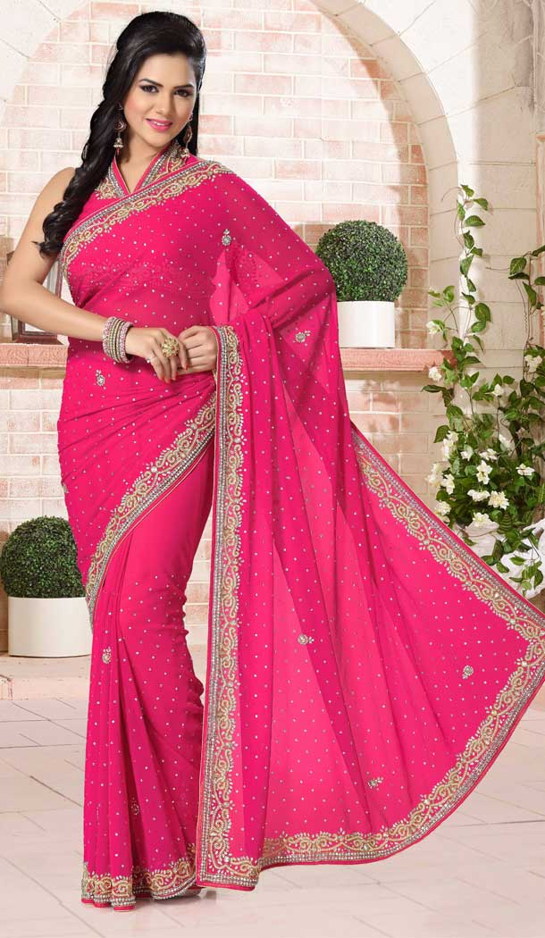 Pink Color Chiffon Designer Bridal Fully Hand Worked Saree Blouse - 558769696