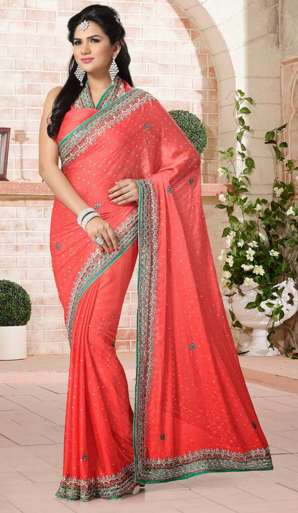 Peach Color Chiffon Designer Bridal Fully Hand Worked Saree Blouse - 558769698