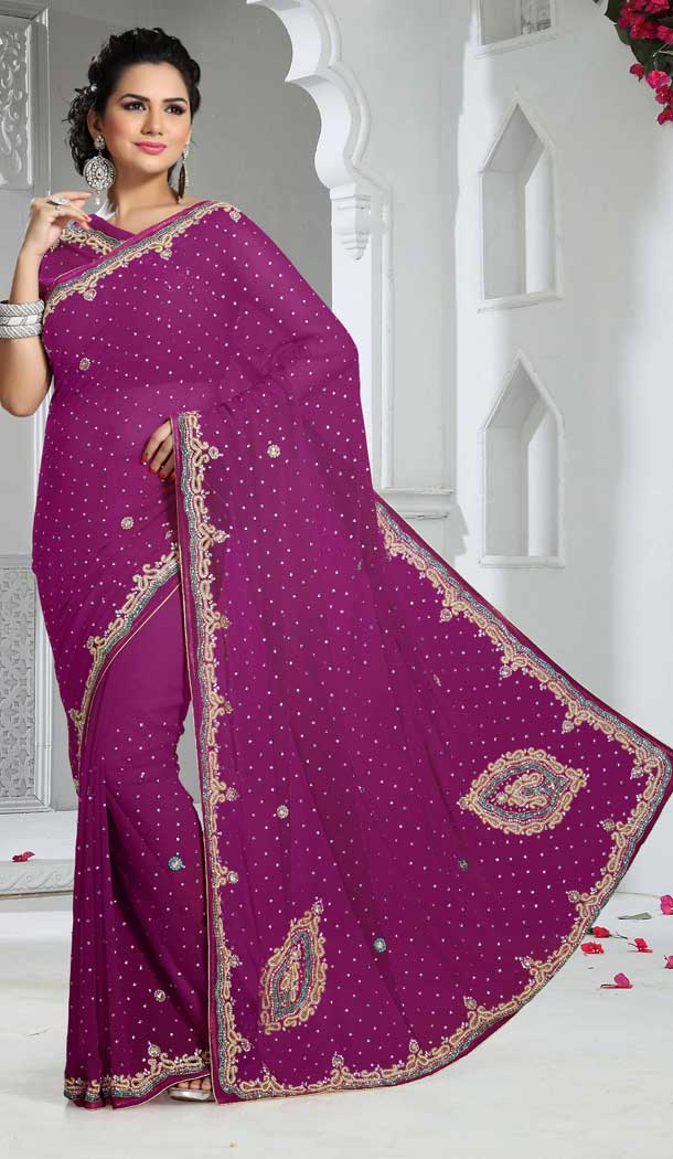 Adorable Magenta Color Chiffon Designer Bridal Fully Hand Worked Saree Blouse - 558769704