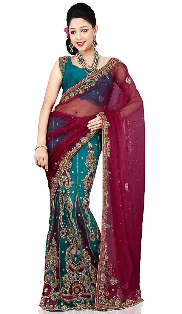 Maroon And Steel Green Color Net And velvert Designer Bridal Fully Hand Worked Saree Blouse - 558769709