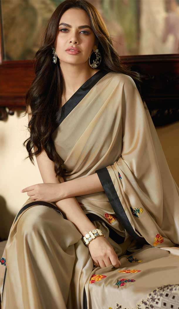 Beige Color Silk Georgette Bollywood Celebrity Nargis Fakhri Saree - 564770623
