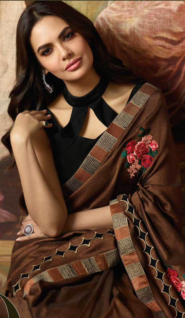 Brown Color Vichitra Silk Bollywood Celebrity Nargis Fakhri Saree - 564770626