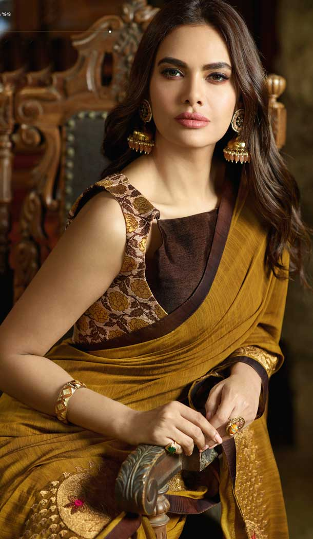 Musterd Color Silk Bollywood Celebrity Nargis Fakhri Saree - 564770629