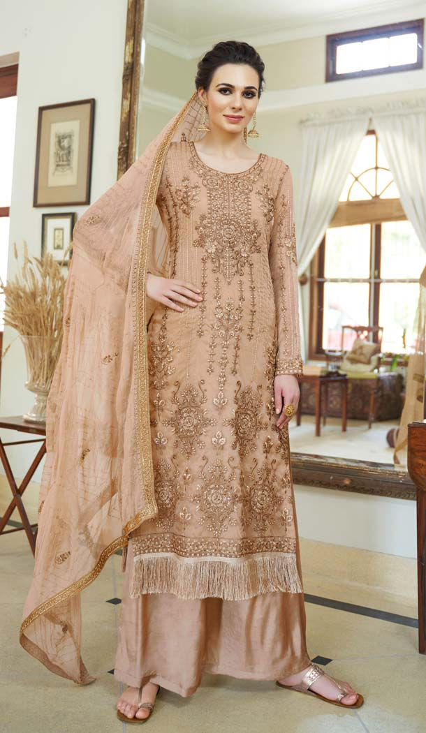 Adorable Beige Color Organza Embroidery Pakistani Palazzo Salwar Suit - 573871450