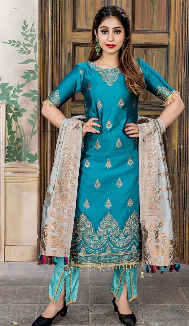 Banarasi Jacquard Sea Blue Color Party Wear Palazzo Suit - 575771717