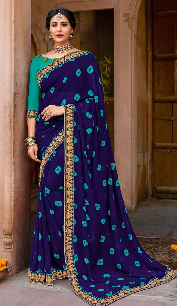 Navy Blue Color Georgette Stunning Printed Bandhani Sarees - 578472001