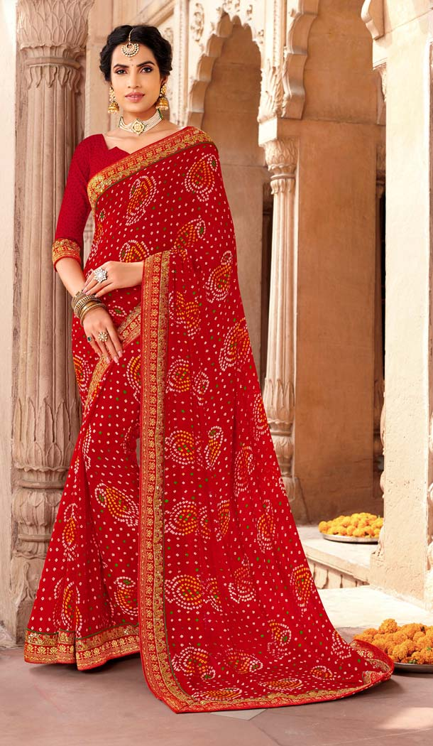 Red Color Georgette Stunning Printed Bandhani Sarees - 578472003