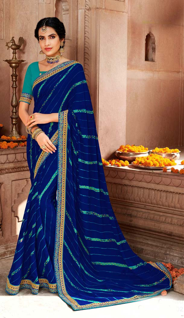 Vivacious Navy Blue Color Georgette Stunning Printed Bandhani Sarees - 578472009