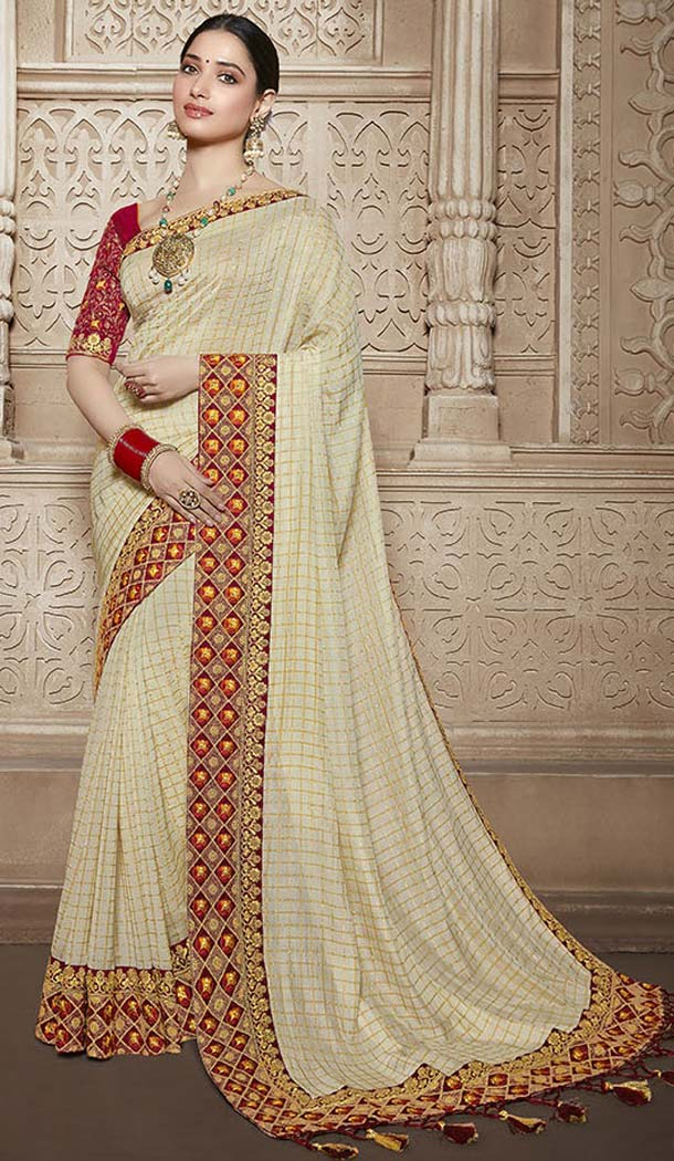 Beige Color Traditional Wear Silk Tamannaah Bhatia Saree - 580172228