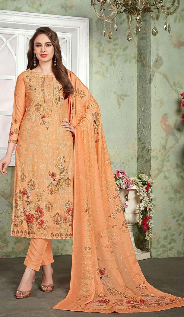 Buy Online Orange Color Heavy Muslin Casual Wear Printed Salwar Suit