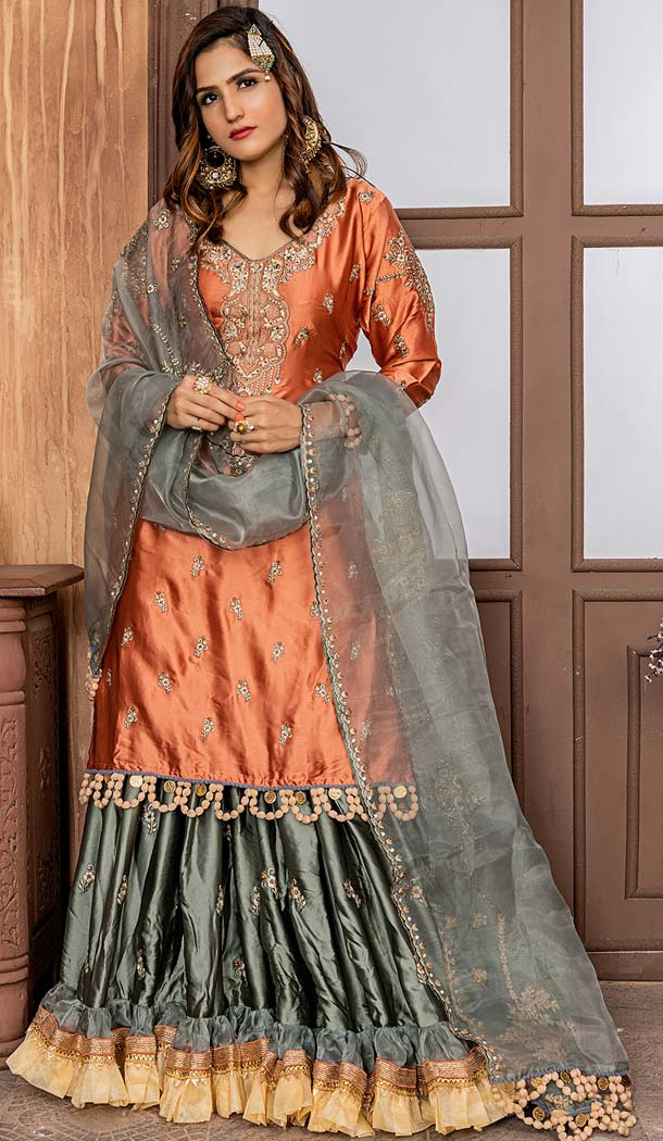 Embroidered Malai Satin Shararar Suit in Orange Color -580472265
