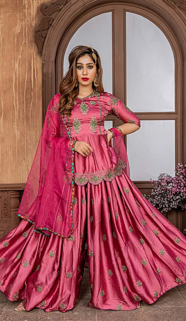 Rich Embroidered Onion Pink Colour Pakistani Sharara Suit