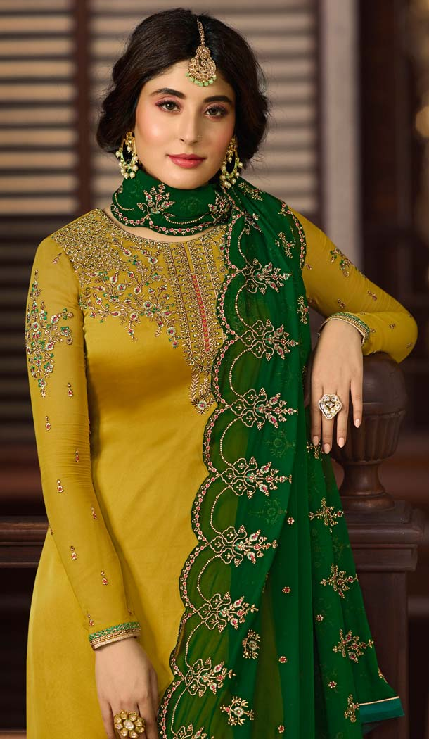 Unique Style Heavy Embroidery Satin Georgette Yellow Salwar Kameez -581072319