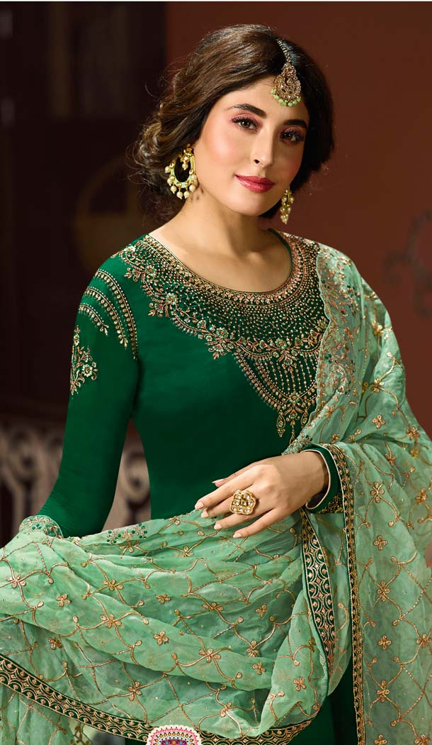 Heavy Georgette Forest Green Embroidery Salwar Kameez -581072323