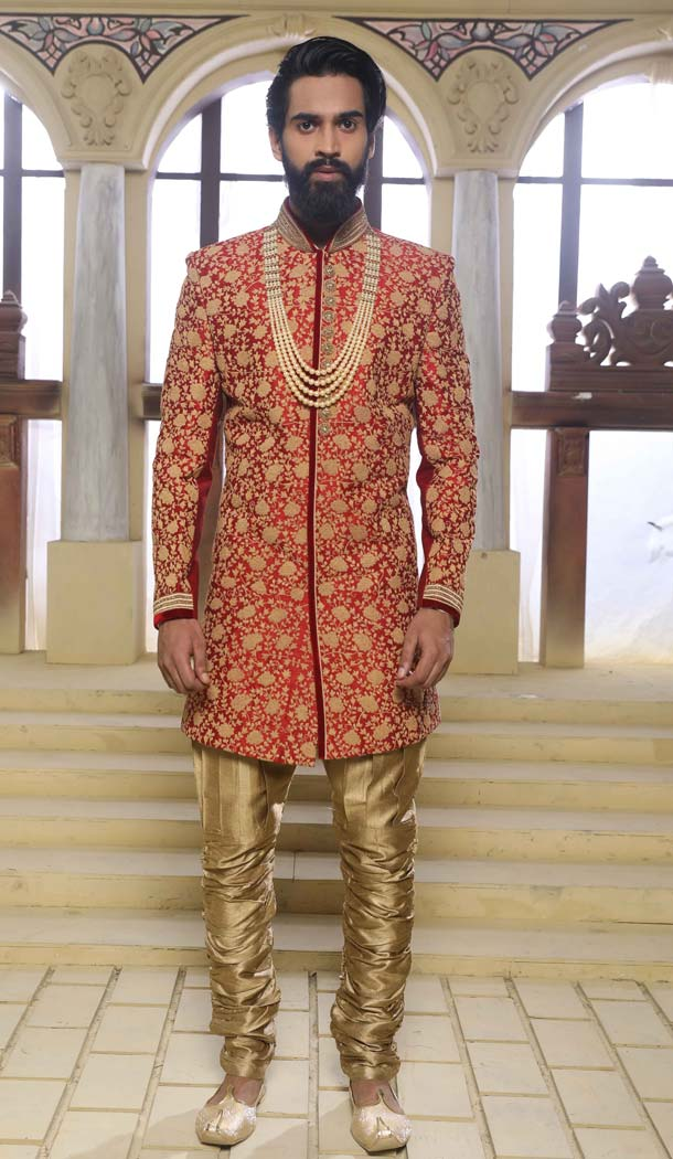 Indo Western Sherwani for Groom in Red Color Raw Silk -508562404