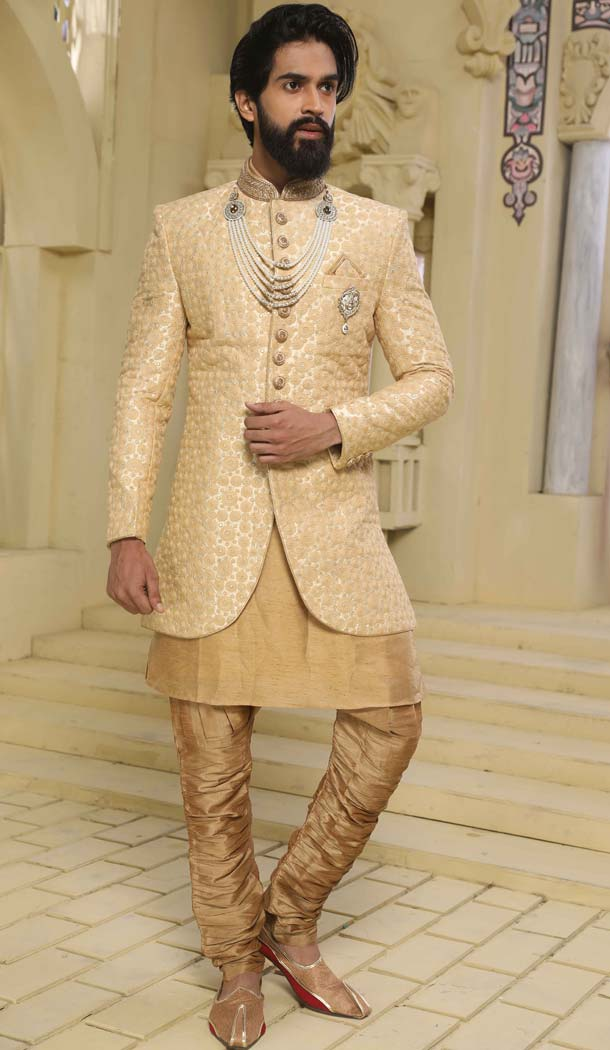 Indo Western Sherwani designs in Cream Color Raw Silk -508562406