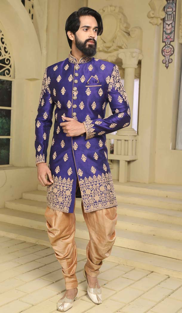 Indo Western Sherwani New Designs in Blue Color Raw Silk -508562407
