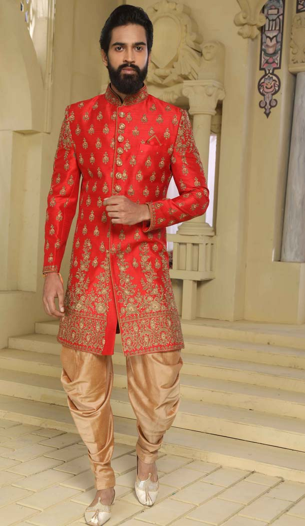 Indo Western Sherwani in Red Color Raw Silk -508562408