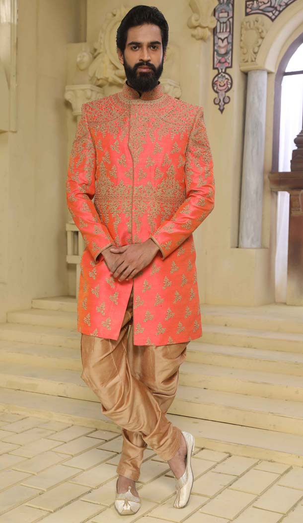 Buy Indo Western Sherwani in Redish Peach Color Online Raw Silk -508562409