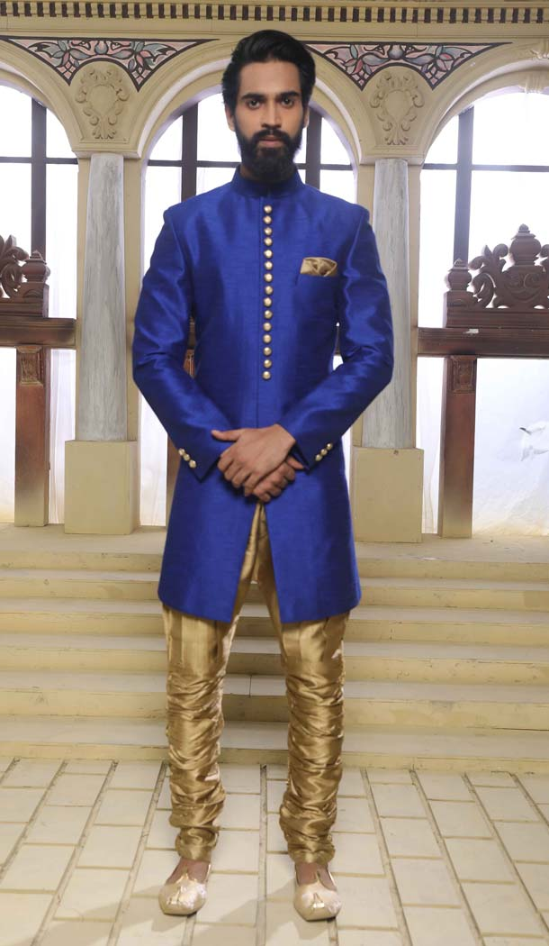 Indo Western Sherwani for Wedding with Raw Silk -508562414