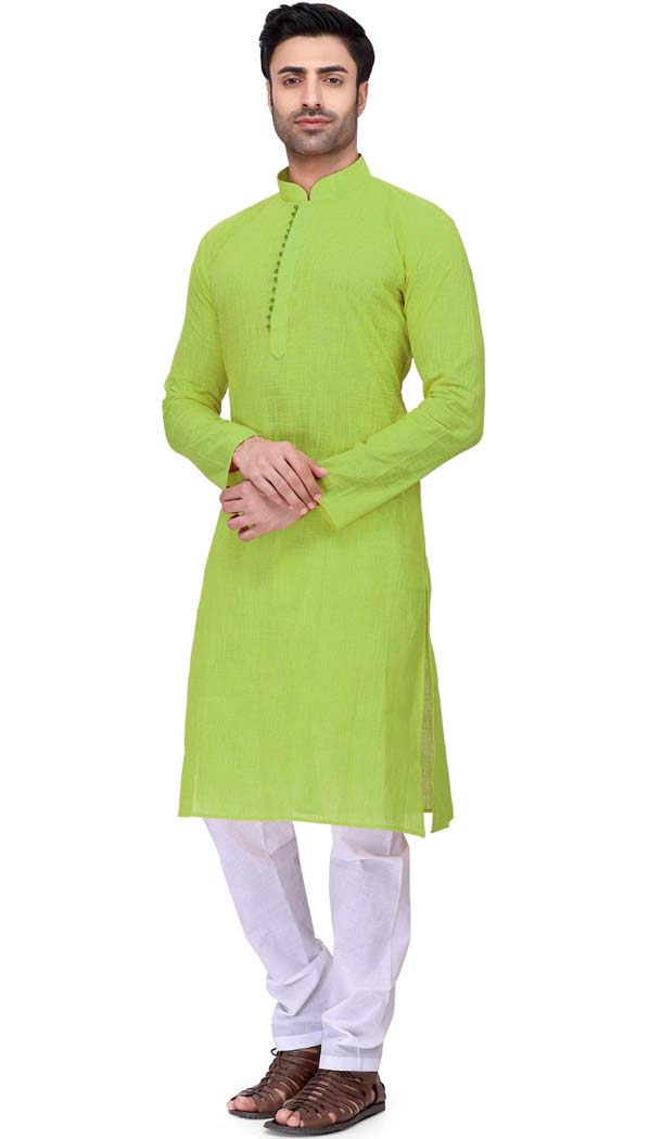 Men Kurta Pajama Design Row Silk in Green