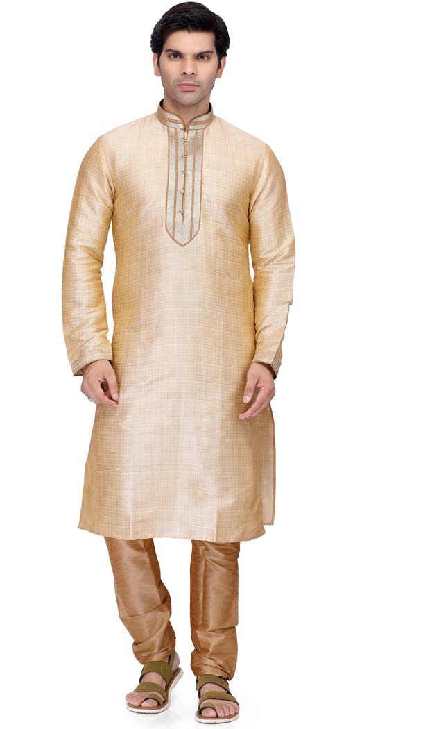 Men's Indian Kurta Pajama Art Silk In Gold Color