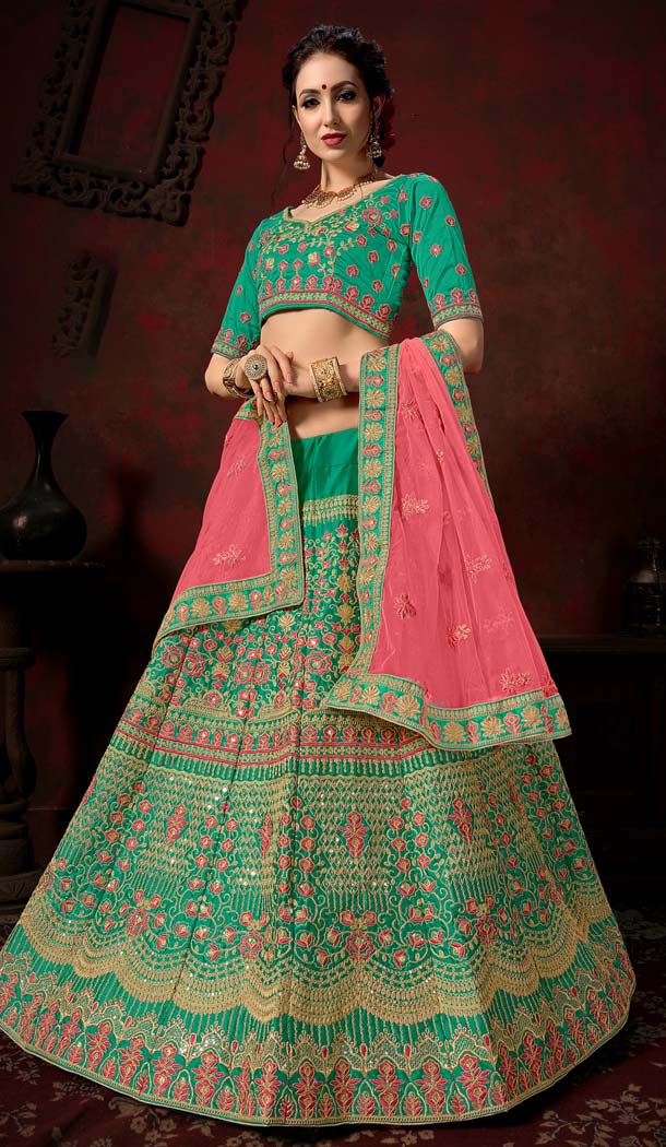 Wedding Lehenga Choli Designs in Green Color -580772301
