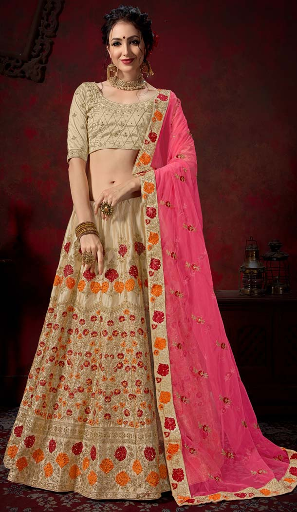 Designer Lehenga Choli Beige Self Cutting and Stitching  -580772302