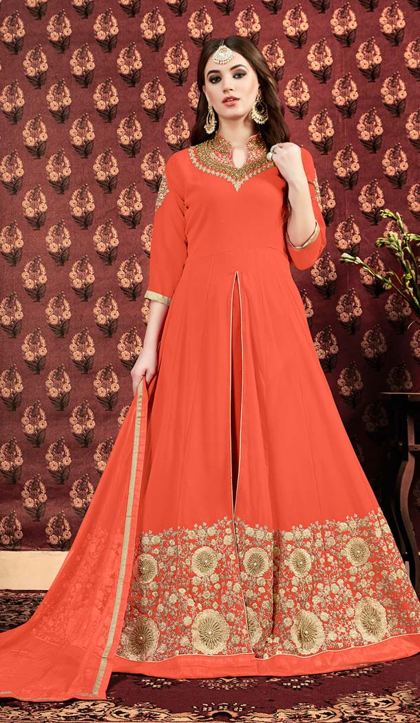 Orange Indian And Pakistani Salwar Kameez Online -581172326