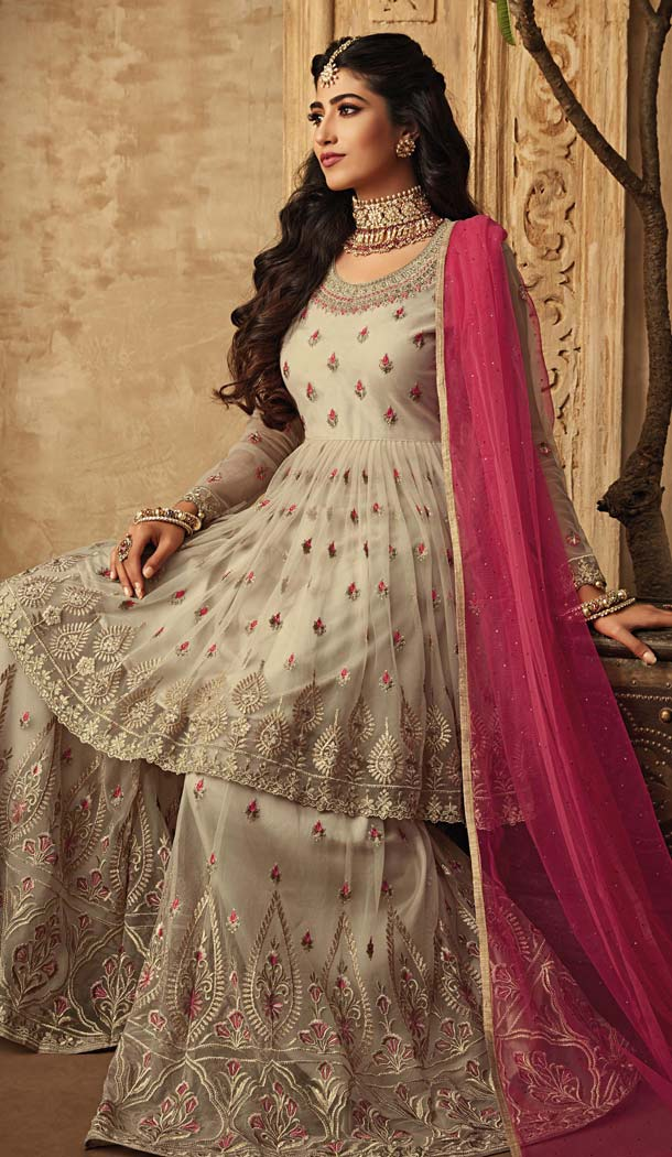 Off White Sharara Suits Online USA -581372335