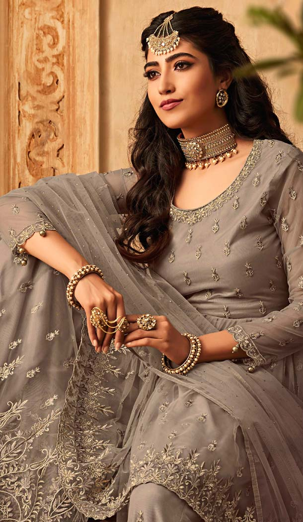 Sharara Suit New Design in Beige Color -581372336