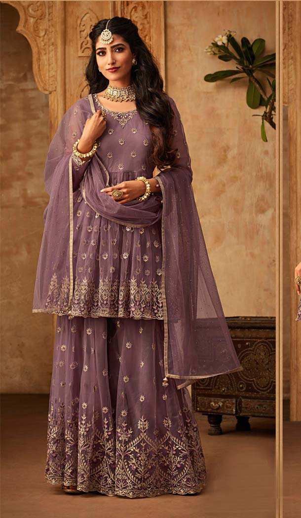 Wine Net Sharara Suits For Ladies  -581372337