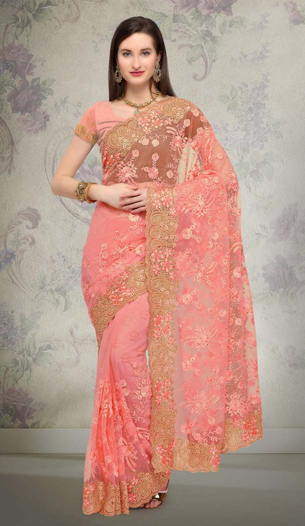 Peach Designer Net Saree Online India -581672360