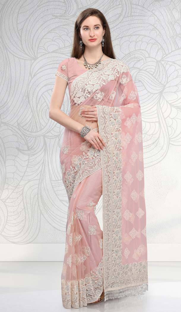 Buy Baby Pink Designer Net Saree -581672363