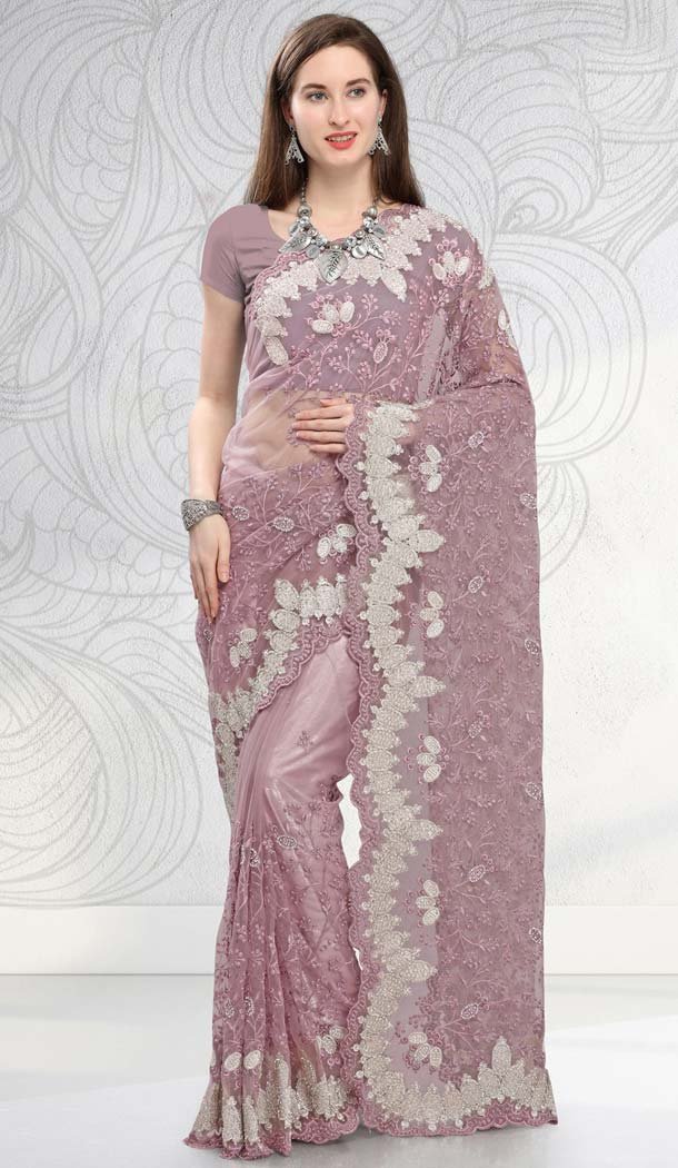 Purple Net Designer Saree with Blouse -581672364