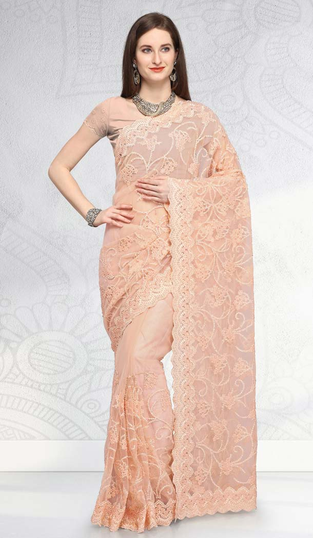 Bollywood Latest Cream Designer Net Saree -581672365