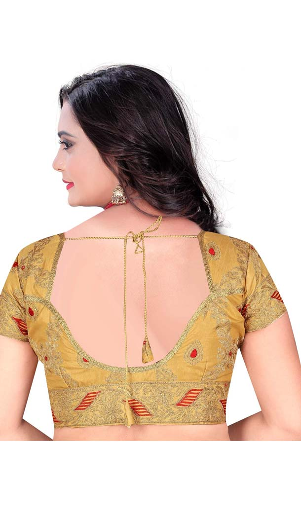Chiku Color Raw Silk Plus Size Readymade Party Blouse -4744043