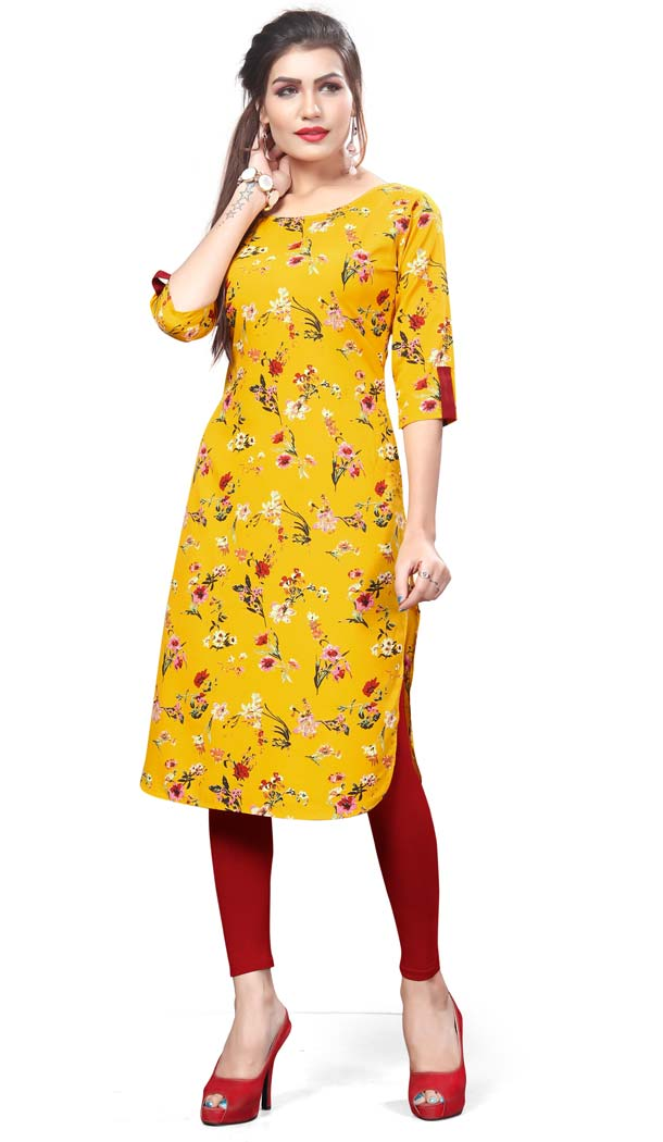 Yellow Color Crape Casual Wear Readymade Kurti -4934222