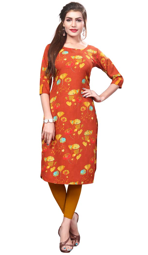 Orange Color Crape Casual Wear Readymade Kurti -4934224