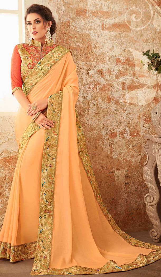 Beige Color Georgette Embroidery Party Wear Sarees -421061842