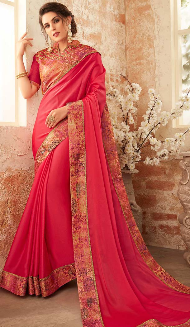 Magenta Color Georgette Embroidery Party Wear Sarees -421061845