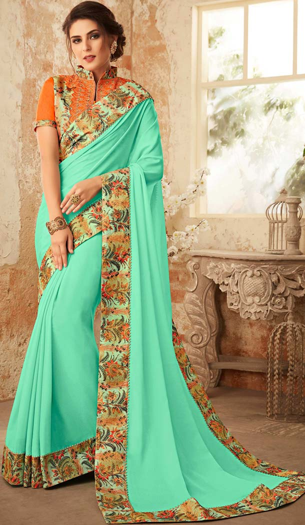 Turquoise Color Georgette Embroidery Party Wear Sarees -421061848