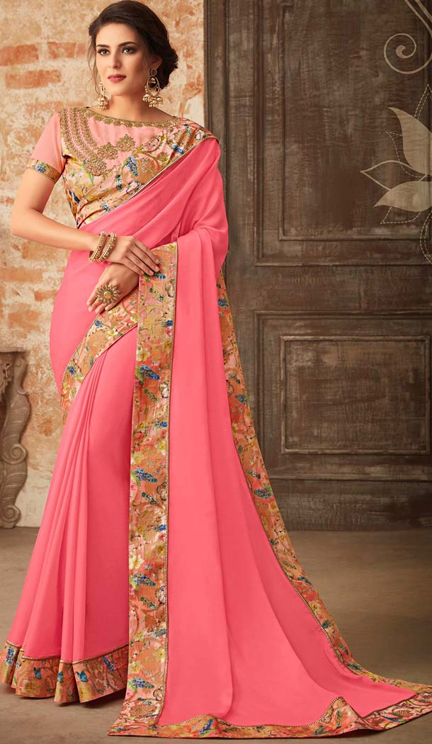 Pink Color Georgette Embroidery Party Wear Sarees -421061849