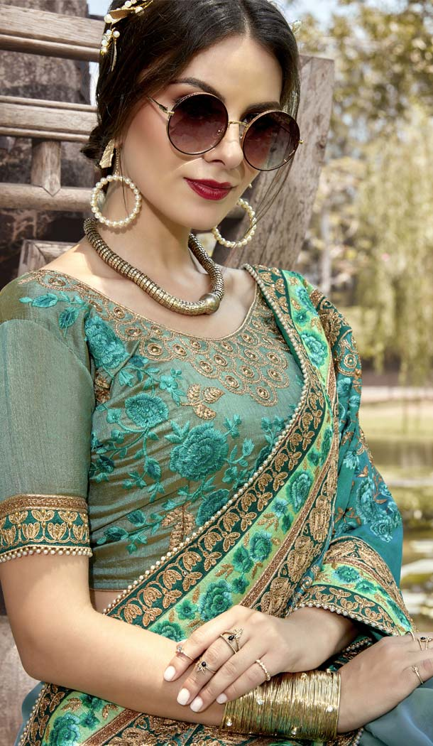 Turquoise Color Pure Georgette Designer Wear Saree -425662178